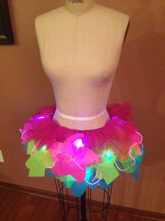 EL Lightup Rainbow Tutu by Puzzlelightdresses