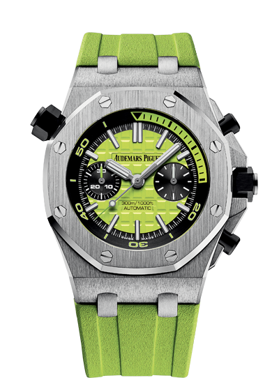 05a89bfdefa Audemars Piguet AP - A bold lime green Royal Oak Offshore, blending  exceptional craftsmanship and fun design. The dial features the traditional