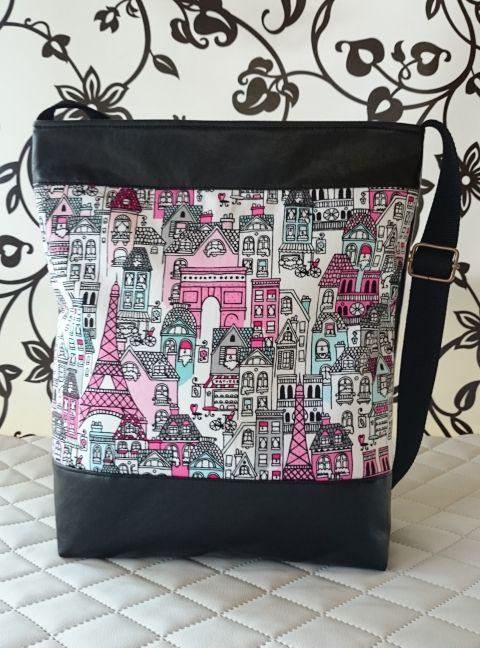 31a0fe0aa2a8 Párizs mintás női textilbőr táska, Táska, Tarisznya, Válltáska, oldaltáska,  Meska