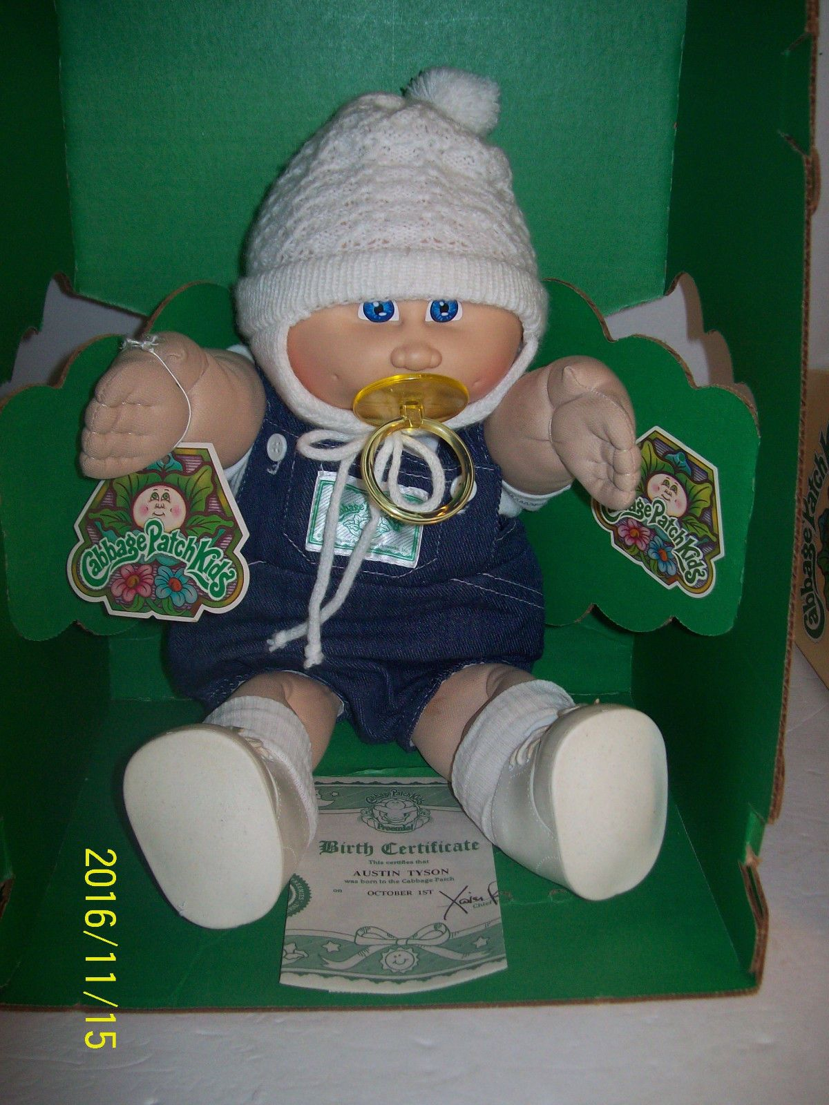 Vintage 1983 Cabbage Patch Kids Boy Preemie Doll Pacifier Hat Papers In Box Vintage Cabbage Patch Dolls Cabbage Patch Babies Cabbage Patch Kids Dolls