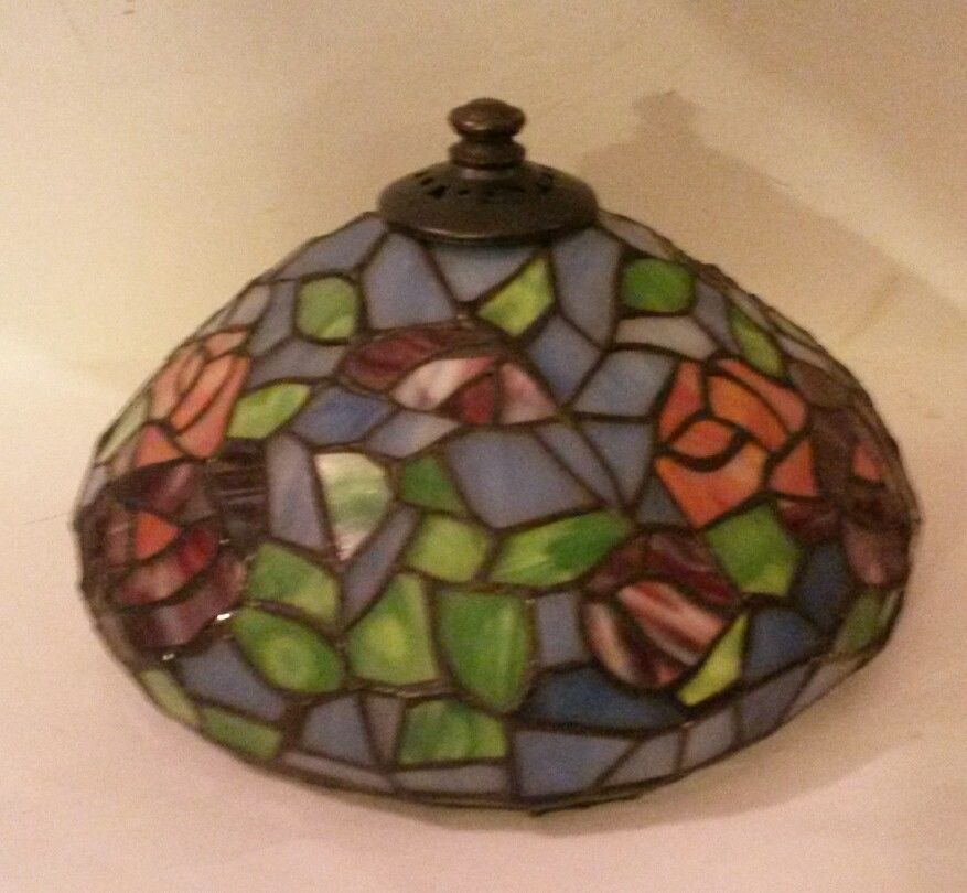 Vintage Tiffany Style Stained Glass Replacement Lamp Shade Multi Colored  Roses