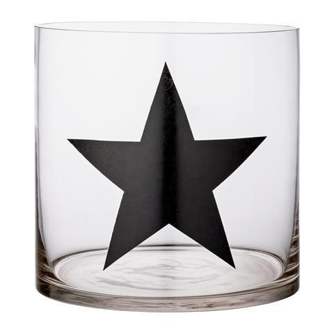 Bloomingville Black Star Large Glass Hurricane Vase The House