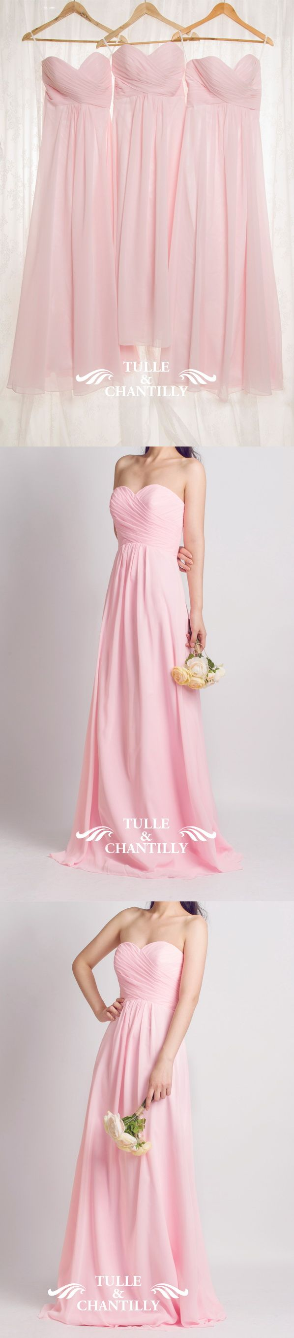 pink strapless bridesmaid dresses for spring summer weddings | Des ...