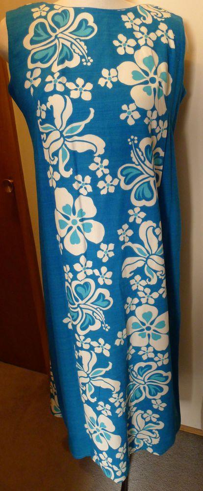 9279f0591 Sears Hawaiian MuuMuu Aloha Dress Blue Barkcloth Floral Design Size ...