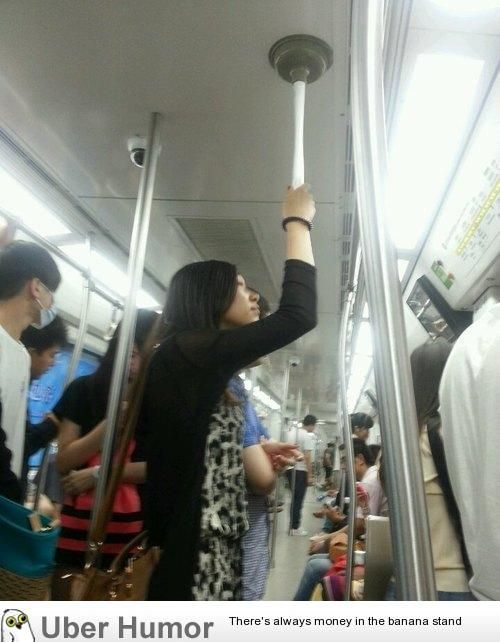 homemade subway pole...what I want to know is why she is traveling with that thing in the first place...