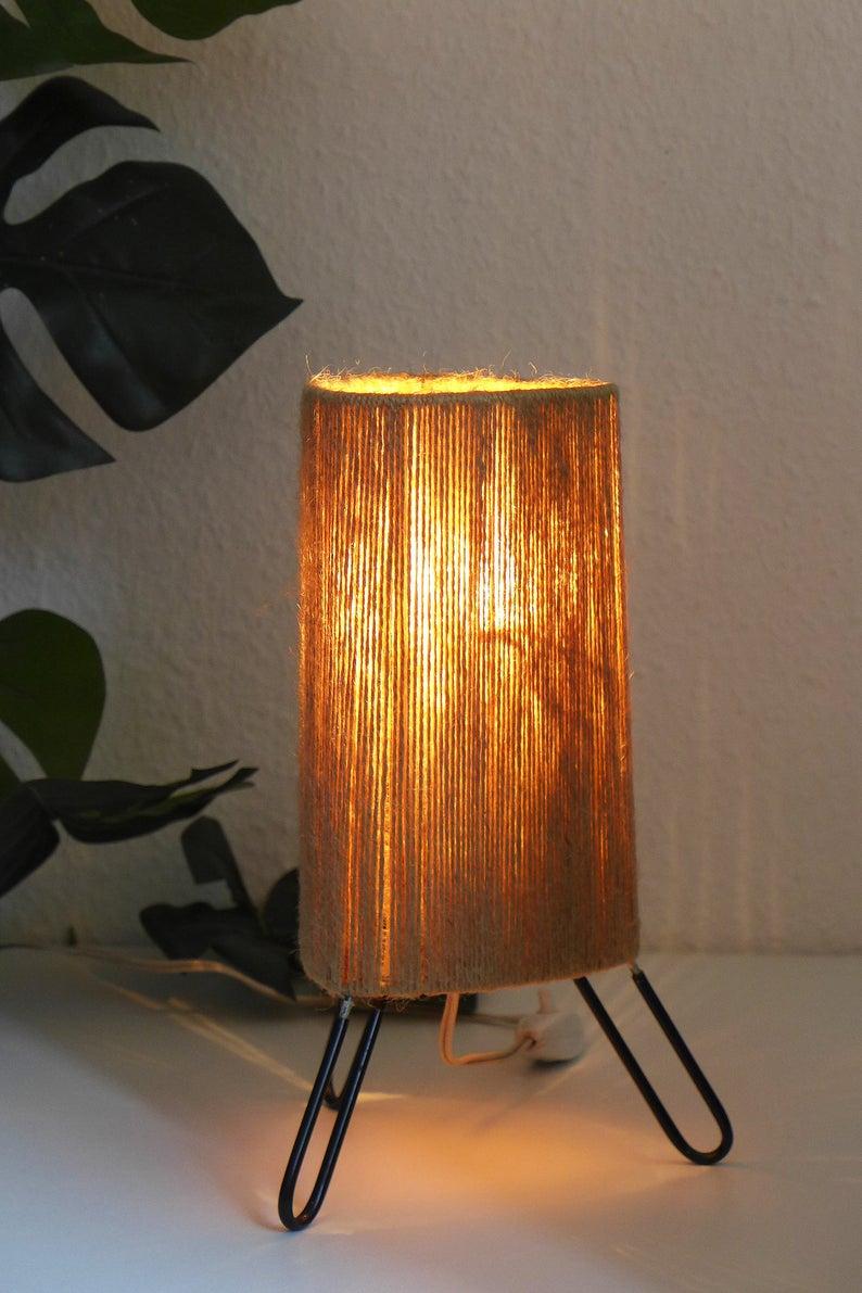 Vintage Bedside Lamp Danish Design Table Light Sisal Night Light Mid Century Modern 1970s 1950s 1960s Scandinavian Tripod Lamp In 2020 Vintage Bedside Vintage Lamps Lamp
