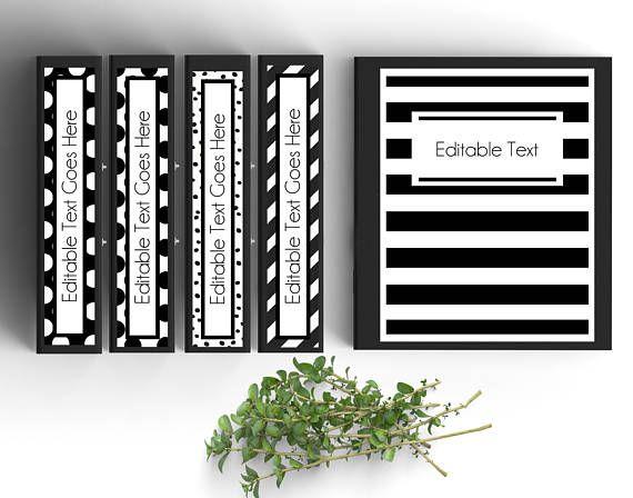 Set Of 5 Editable Binder Covers Black And White Etsy Editable Binder Covers Binder Covers Printable Editable Binder