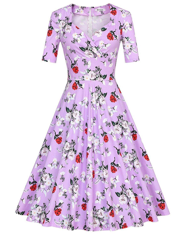 MUXXN Women\'s 50s Vintage Short Sleeve Pleated Swing Dress * See ...
