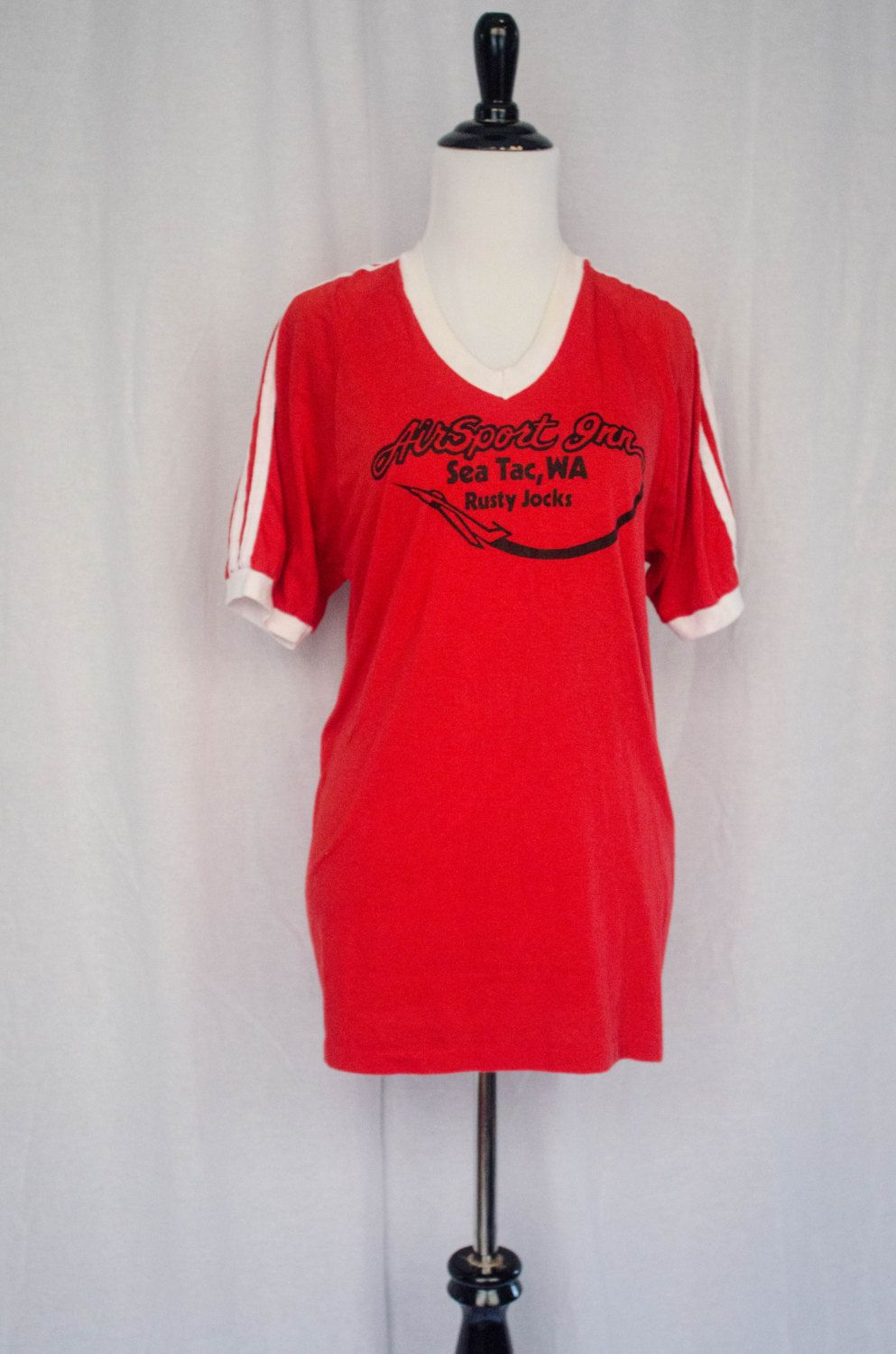 Vintage 1980's 'Cafe Racer' V-Neck Ringer Tee Size M by BeehausVintage on Etsy