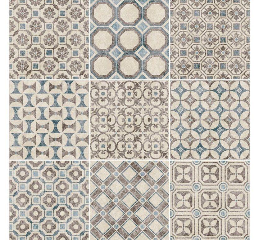 Decorative Tile Floors Baroque Blue  Whitebased On Ancient Mediterranean Artistic