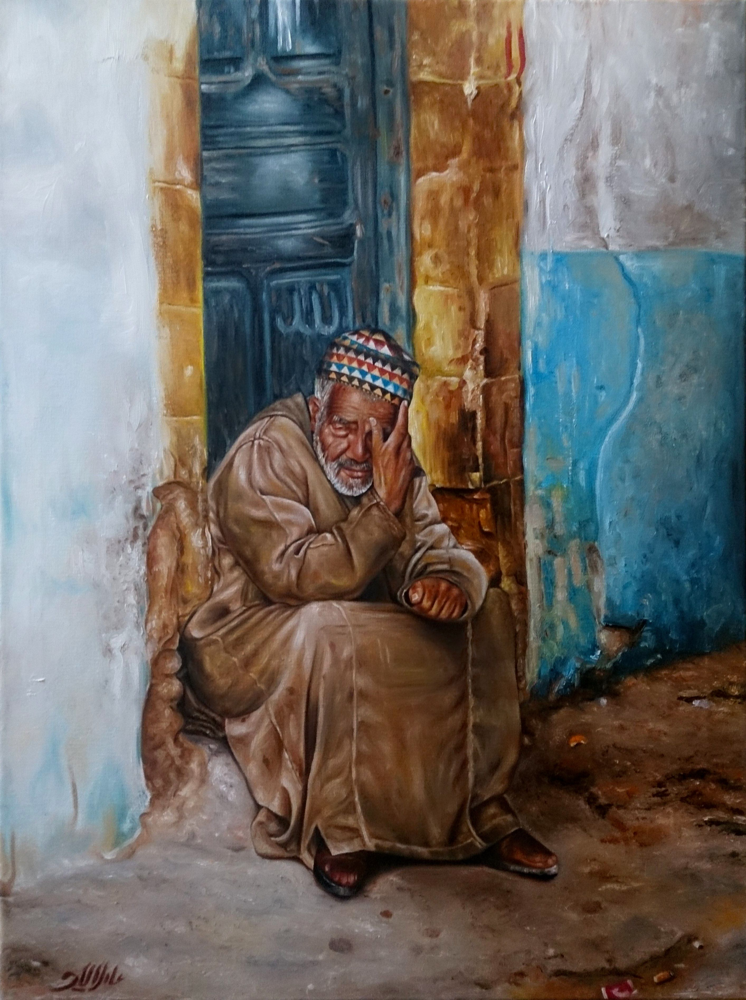 Adel elliethy egypt oil painting canvas 60 80 for Egyptian mural paintings