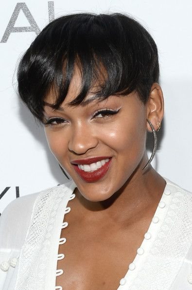 Meagan Good S Short Chop And Frosted Cat Eye Short Hair Haircuts Meagan Good Short Hair Short Hair Styles