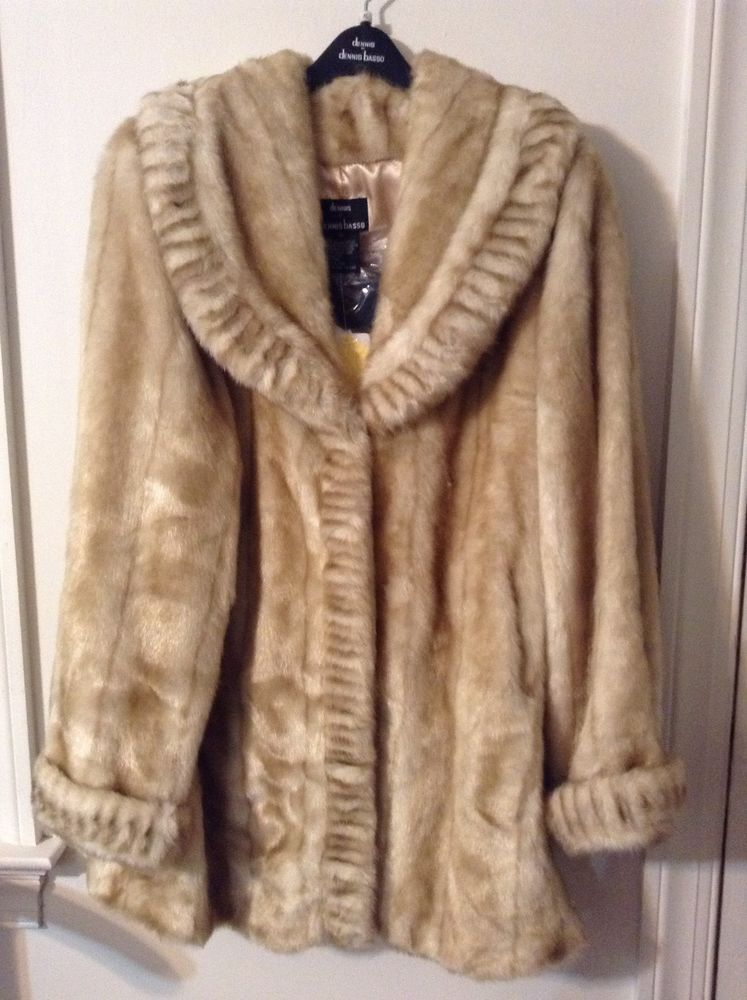 1bca00f4c647 ... Jackets for Women. New Dennis Basso 3/4 Length Shawl Collar Faux Mink  Coat w/ Pleated Trim Beige XL #DennisBasso #BasicCoat