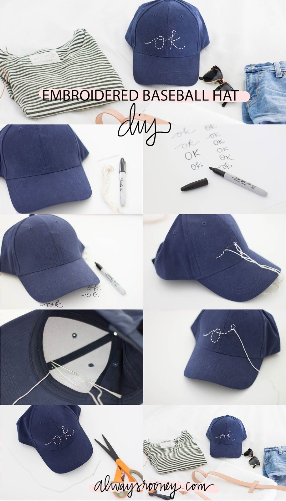 Embroidered Baseball Hat Diy Diy Embroidery Hat Diy Fashion Hat Embroidery