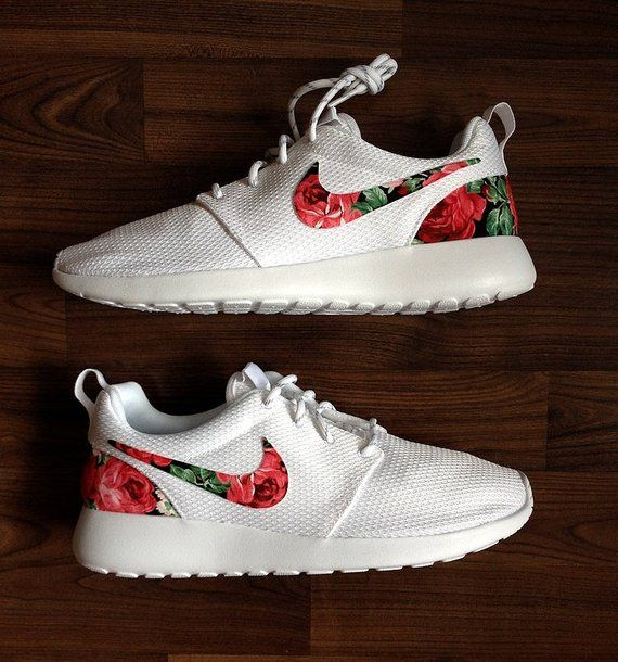 finest selection 0ca39 4c305 Nike Roshe Run Womens White with Custom Black Pink Rose Floral Print