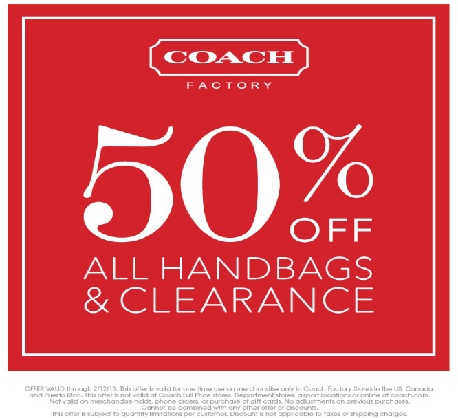 Extra 50% off all handbags & clearance at Coach Factory coupon via The Coupons App