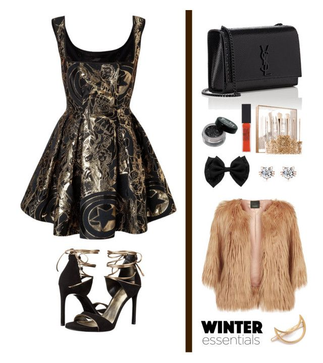 """""""Class black and nude ( gold )"""" by mgldemartino ❤ liked on Polyvore featuring Stuart Weitzman, Yves Saint Laurent, Sephora Collection, Maybelline, Pinko, Mrs. President & Co., Chanel, ArianaGrande and gabrielldemartino"""