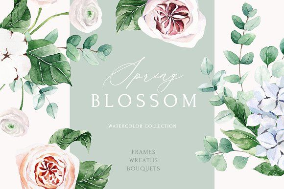 Spring Blossom Watercolor Collection