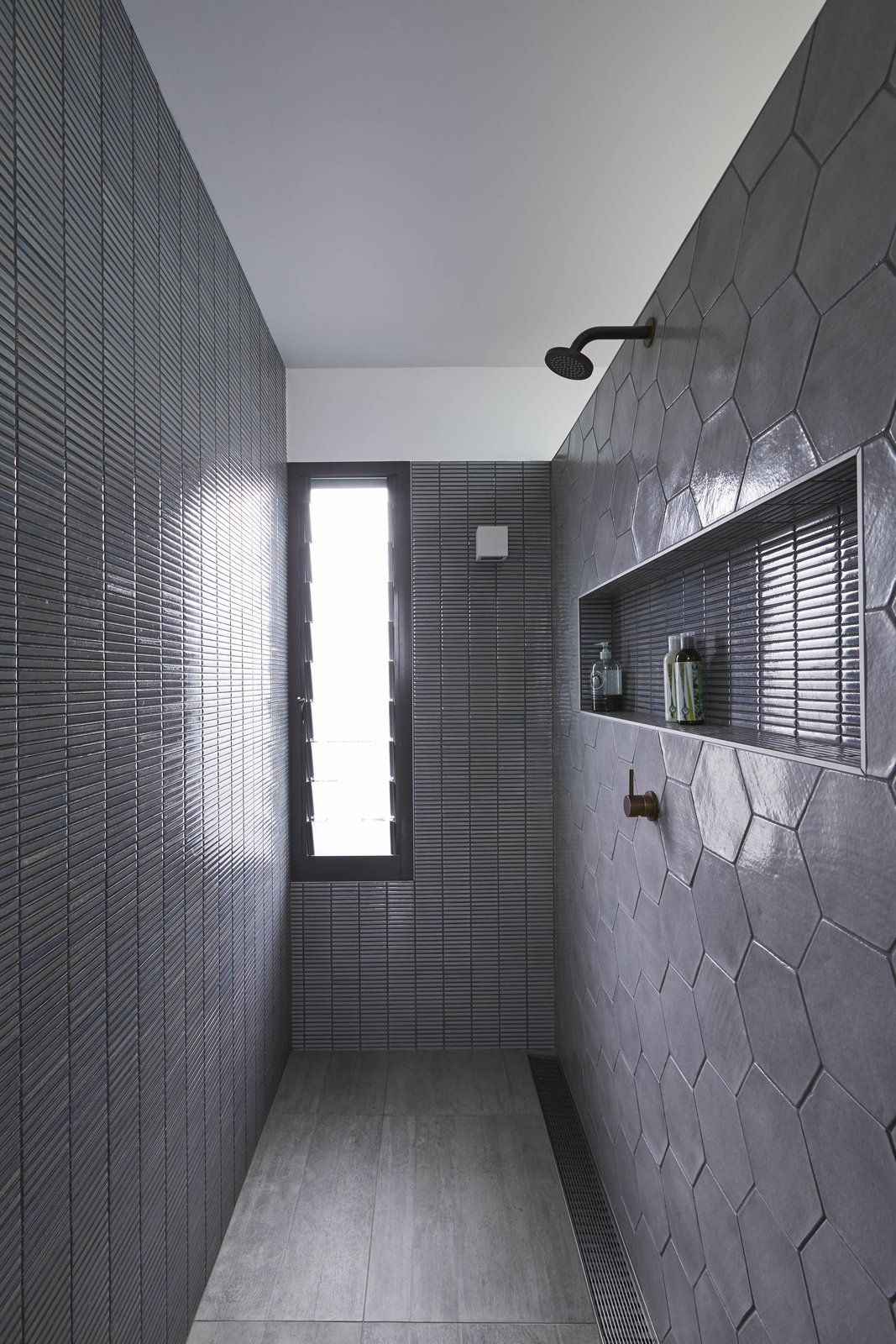Photo 13 Of 15 In The Suntrap House Soaks Up Daylight And Celebrates Minimalist Showers Shower Room Bathroom Wall Tile
