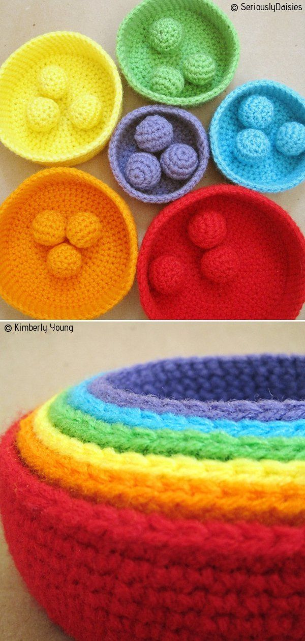 Crocheted Rainbow Ideas Free Patterns #crochetbowl