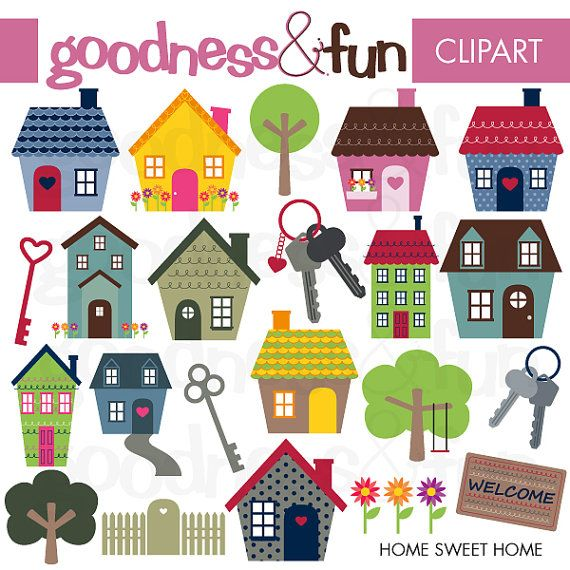 Home Sweet Home Clipart Digital House Clipart Instant Etsy House Clipart Clip Art Sweet Home