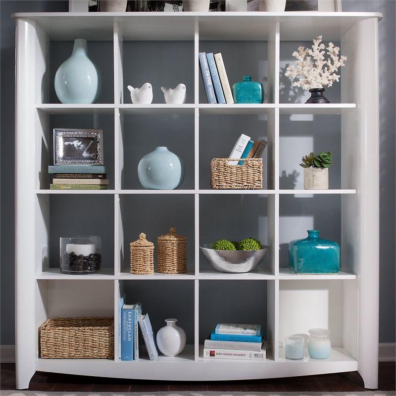 Furniture Aero 16 Cube Bookcase Room Divider In Pure White