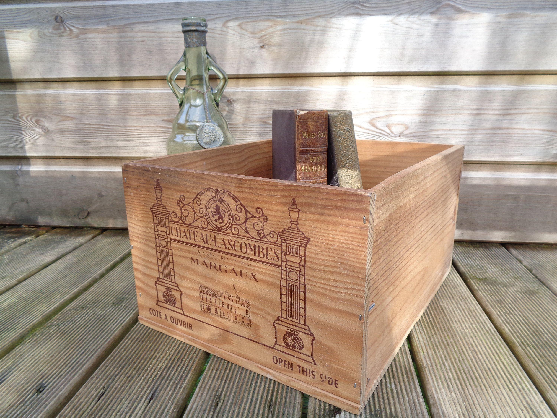 Ancienne Caisse En Bois De Bouteilles De Vin Francais Chateau Etsy Wood Magazine Rack