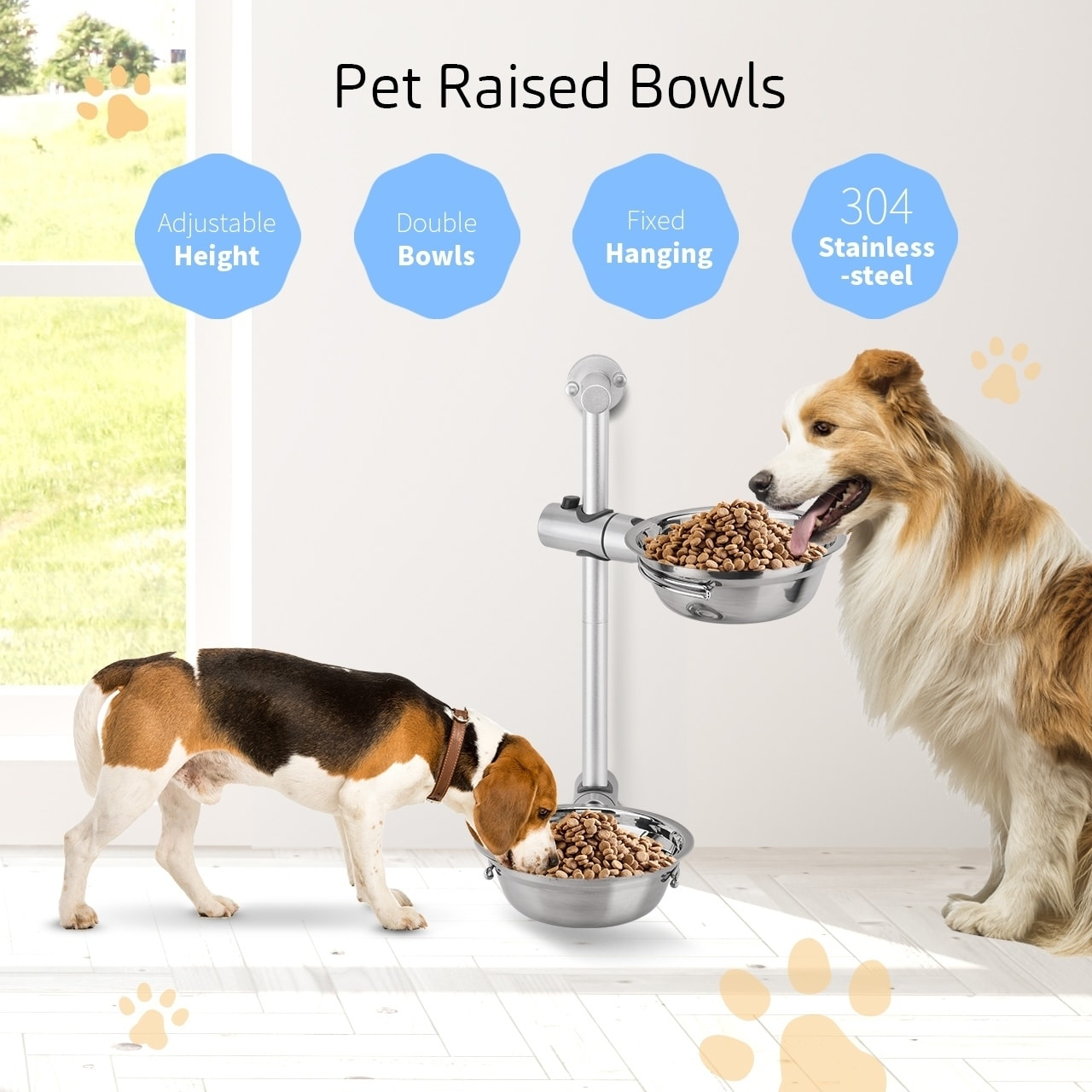 2 Raised Pet Feeders Adjustable Pet Bowls Hanging Stainless Steel Bowls For Different Size Dog Cat Silver Coutlet Pet Feeder Pets Pet Bowls