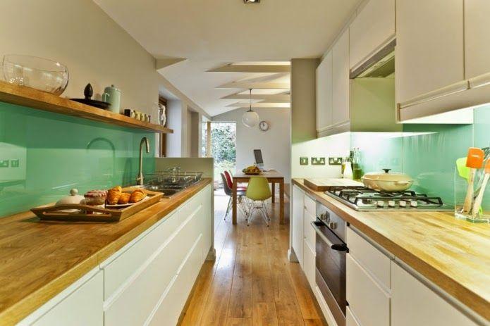 Long Narrow Kitchen Ideas White And Mint Long Narrow Kitchen