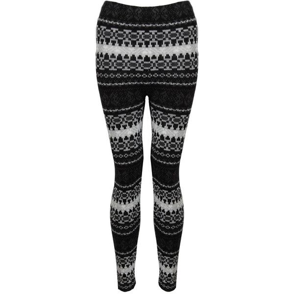 Black and White Knitted Aztec Leggings ($16) ❤ liked on Polyvore