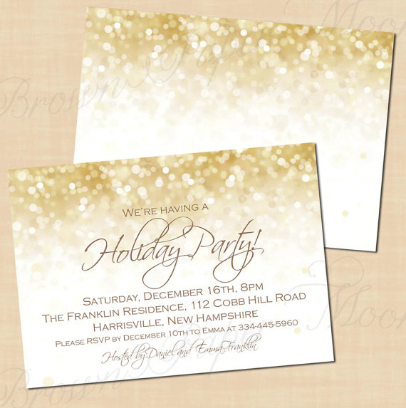 White Gold Sparkles Holiday Party Invitations Christmas New Years