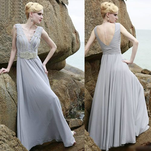 Sexy Gray Grey Plunging Sleeveless Evening Ball Gowns Event Dress SKU-122187