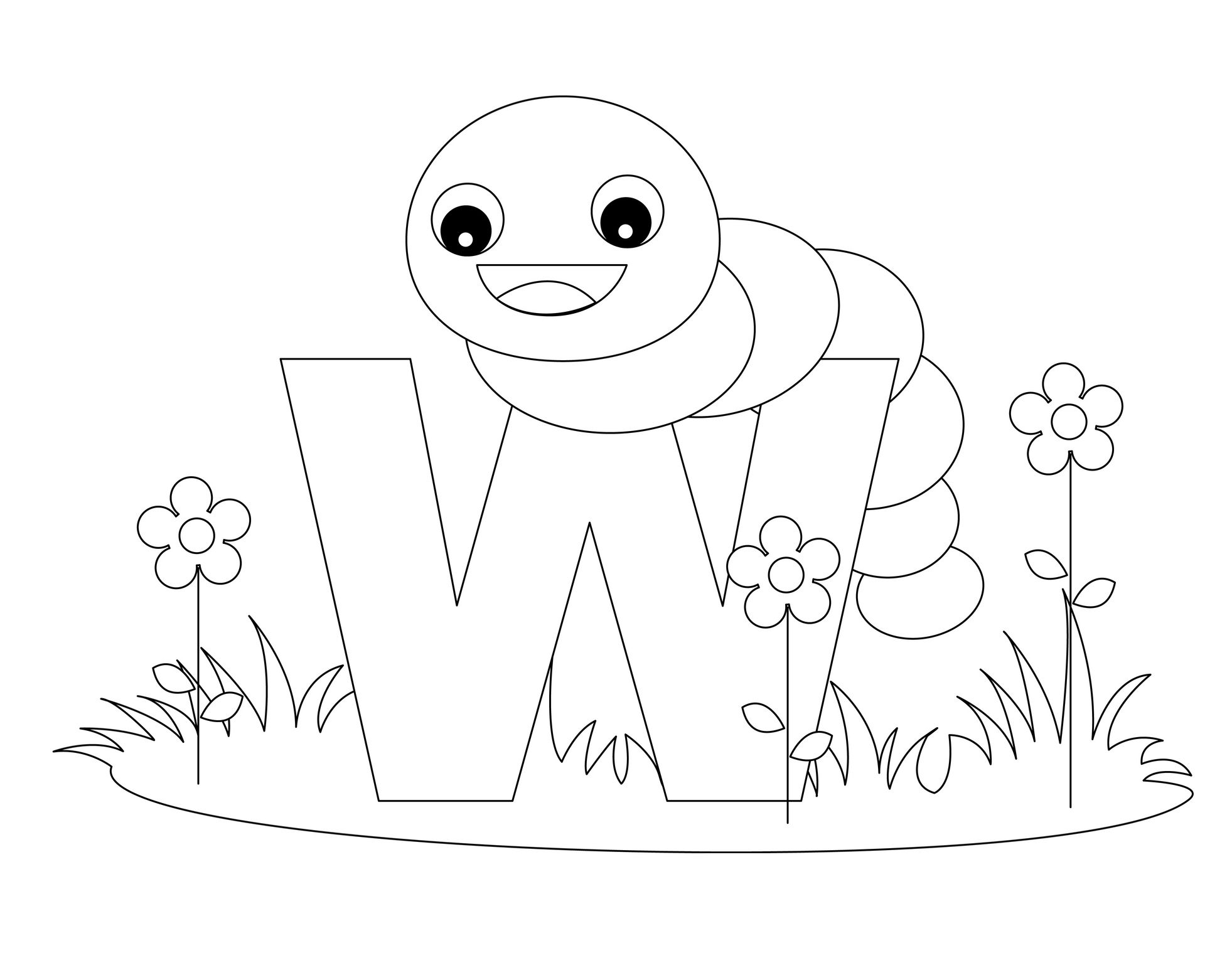 Animal Alphabet Letter W Is For Worm Alphabet Coloring Pages Coloring Letters Letter W Crafts [ 1527 x 1963 Pixel ]