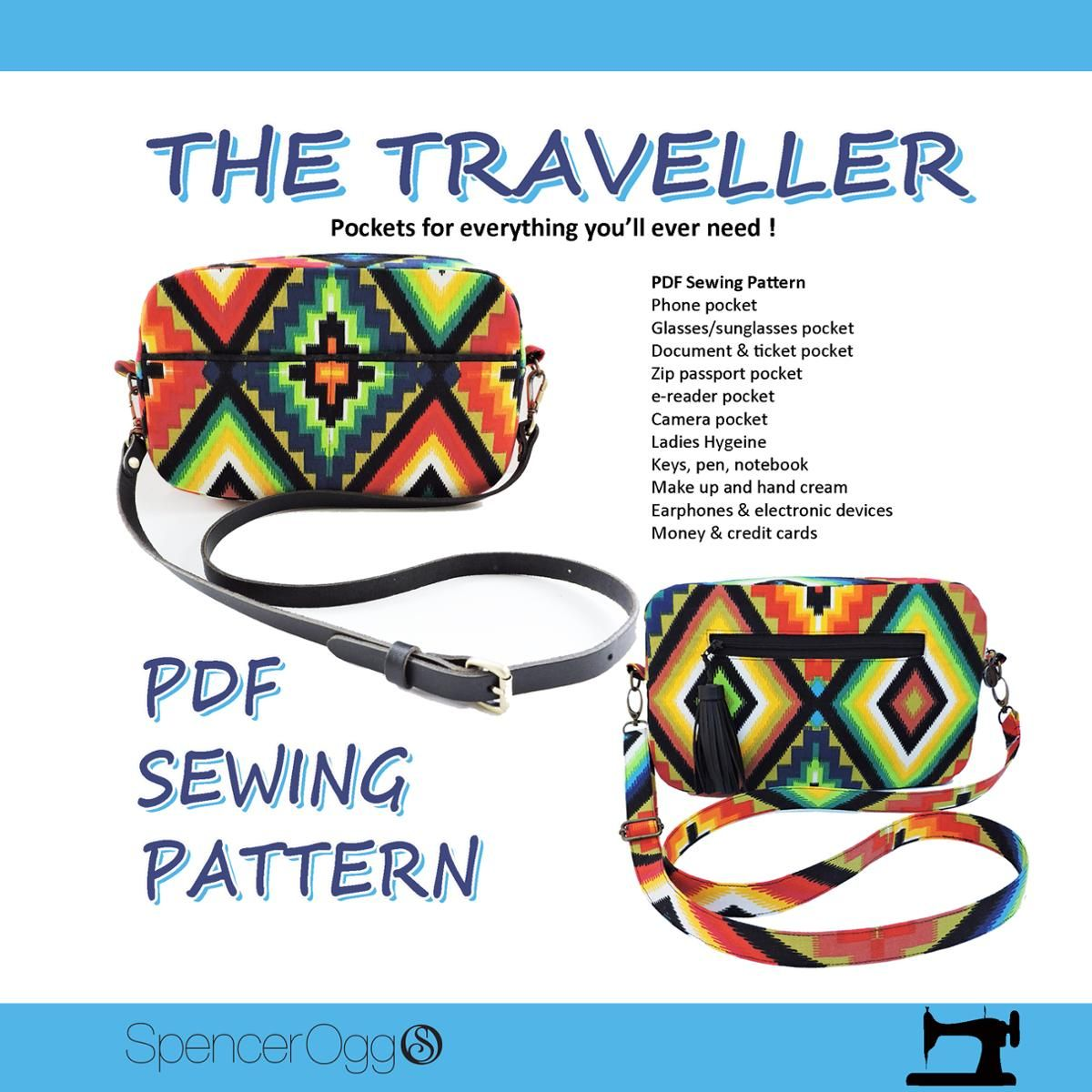 The Traveller cross body multi pocket bag | 作りたい | Pinterest