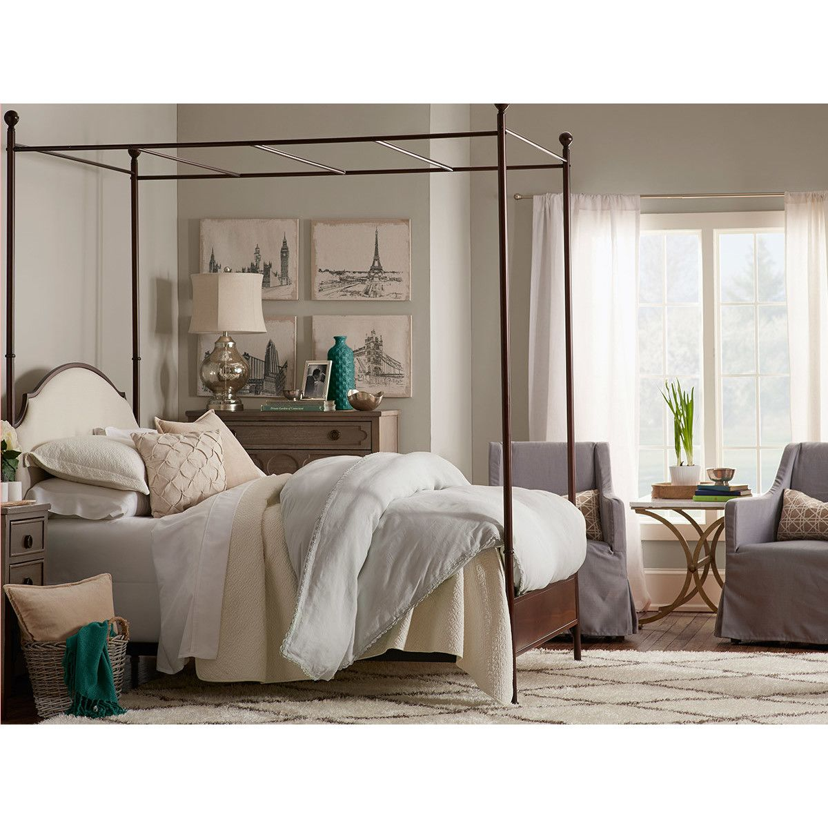 Alcott Hill Canopy Bed Furniture, Farmhouse master