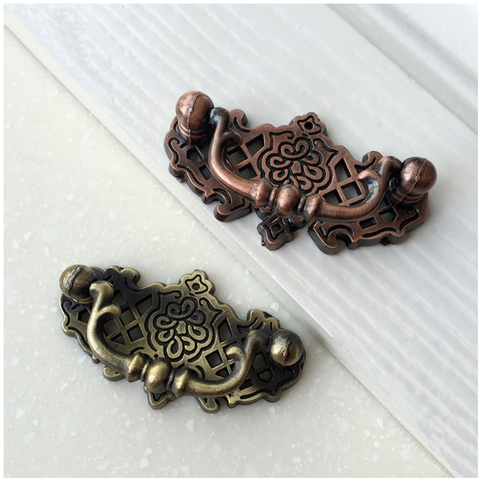 Vintage style drawer pulls and knobs antique copperbronze finish in