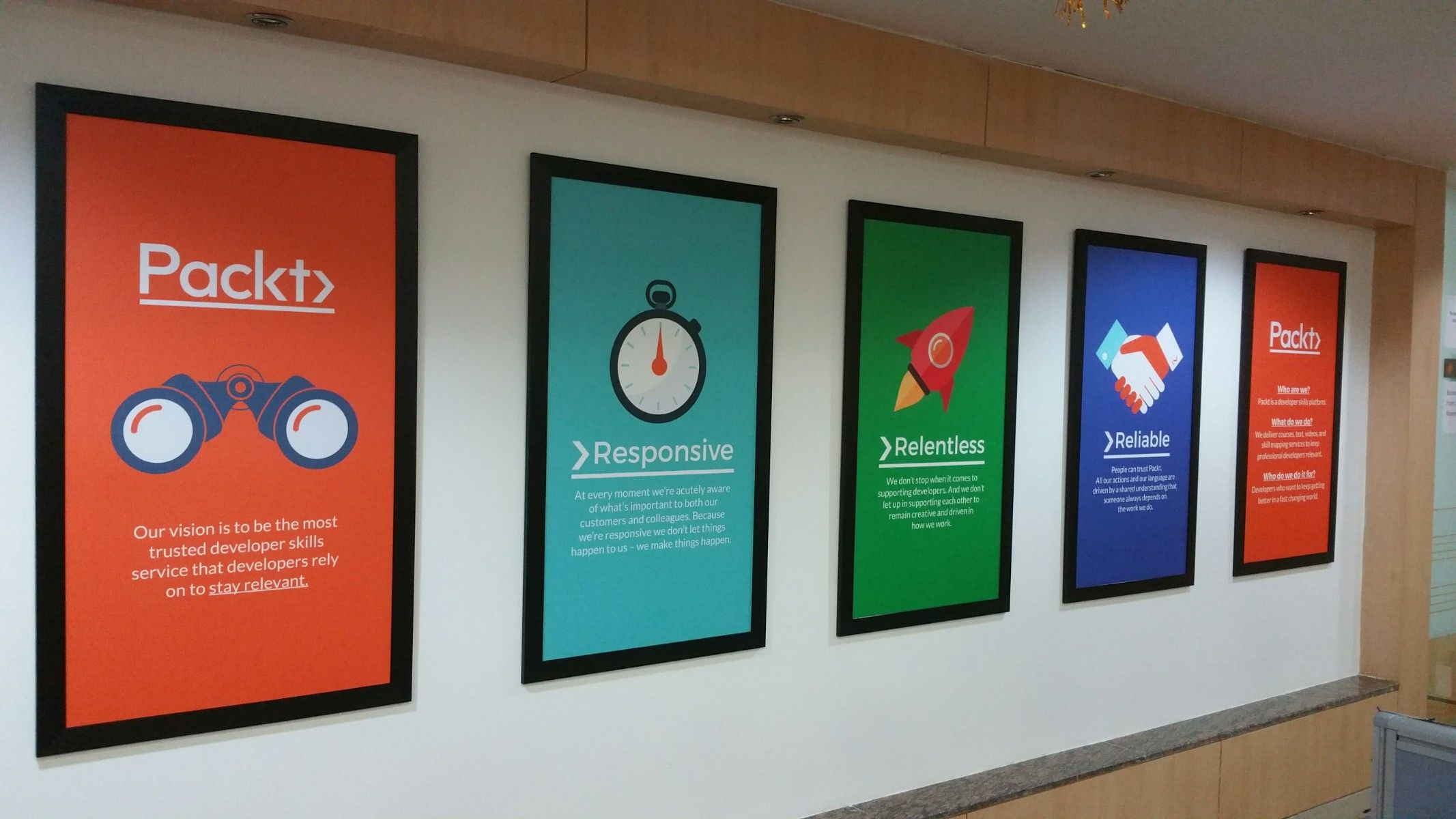 Business Values Packt Office Wall Design Motivational Office Decor Corporate Interior Design