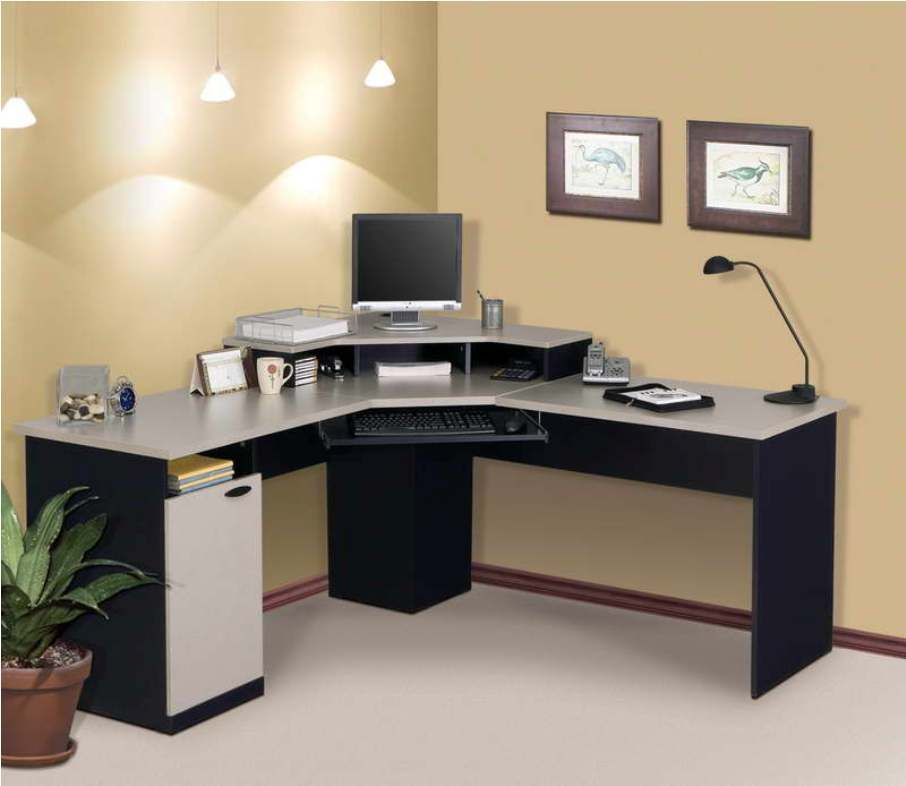 Attractive L Shaped Desks Ikea Relevant To Home Office With Keyboard Drawer Combine Modern Desk Lamp Featuring Brown Colored Wall And White Rug Area