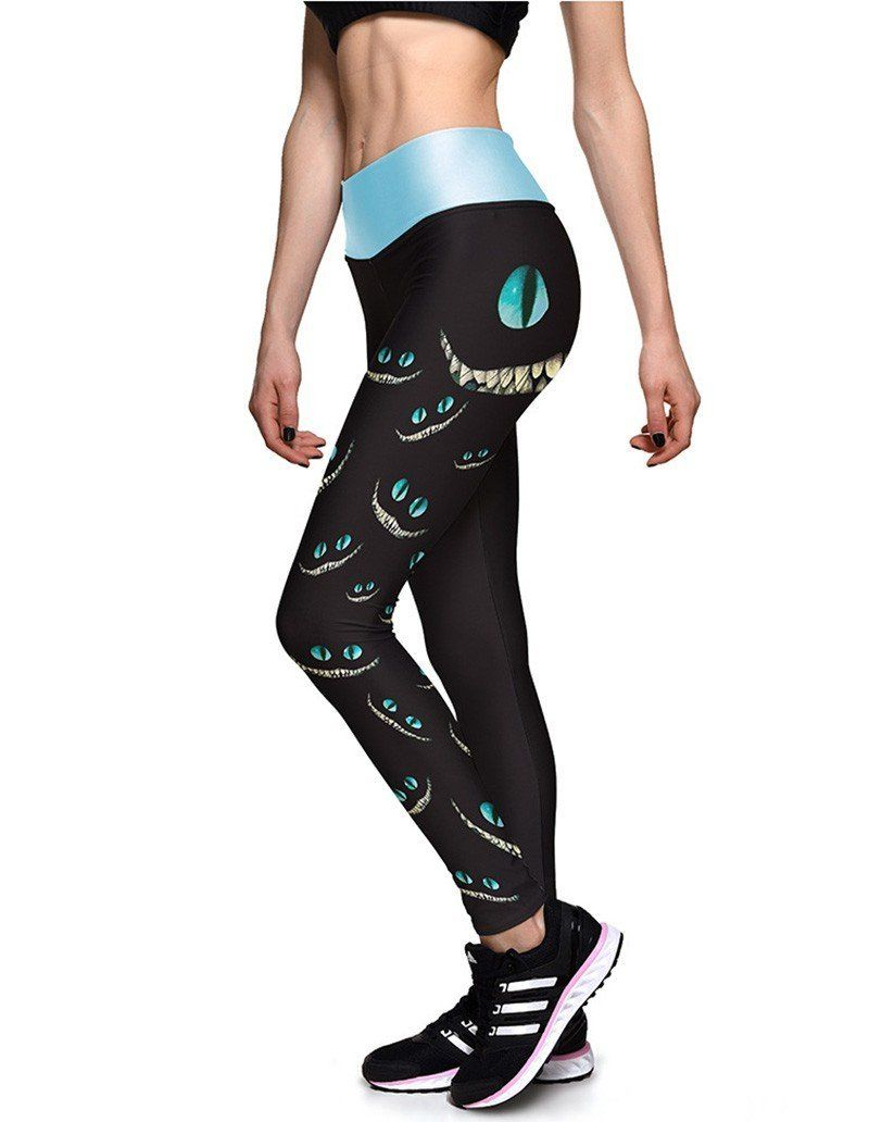d637491be67fa0 Cute Alice In Wonderland Cheshire Cat Breathing Womens Fitness Leggings