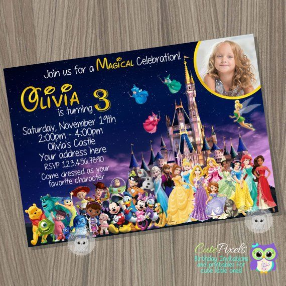 Disney Castle Invitation Characters Princess Birthday