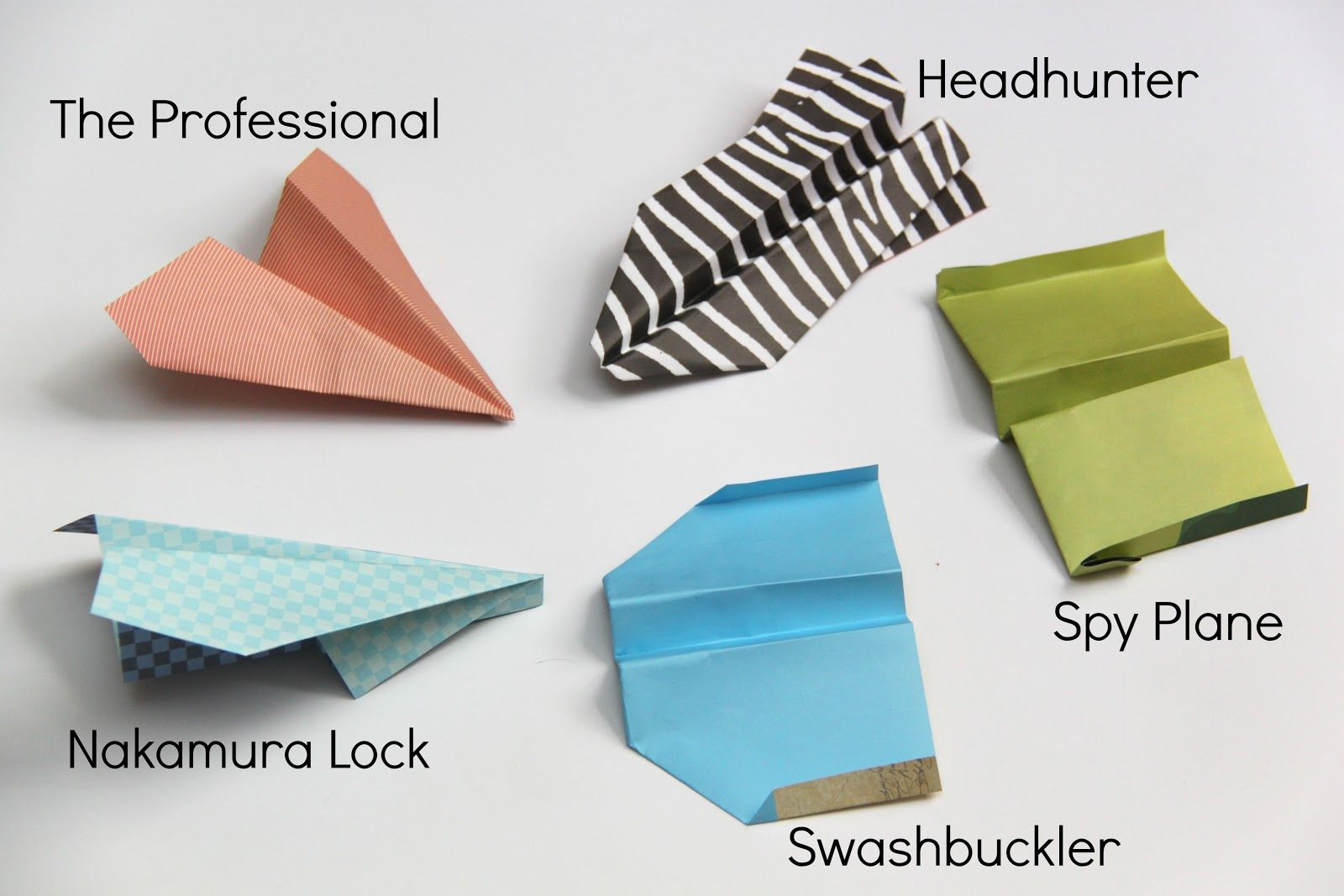 Different kinds of paper airplanes