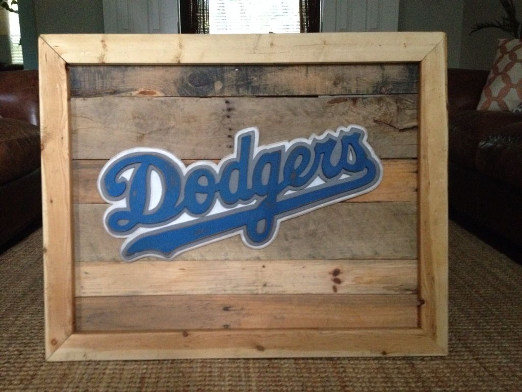3 d la dodgers sign on reclaimed wood hand jigged wood for Reclaimed wood furniture los angeles