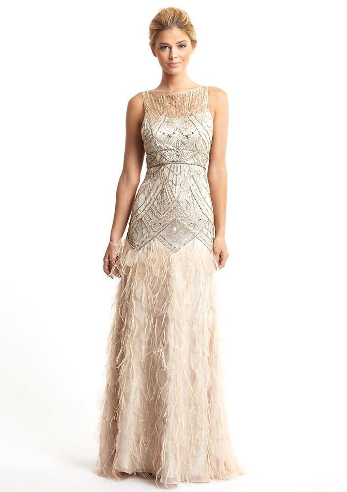 Sue Wong 1920\'s Gatsby Champagne and Silver Gown w/ Feather Detail ...