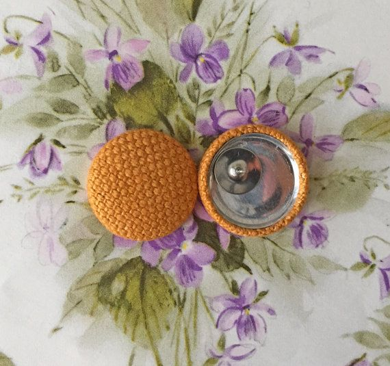 Tweed Button Earrings /Butterscotch Yellow / by ManhattanHippy