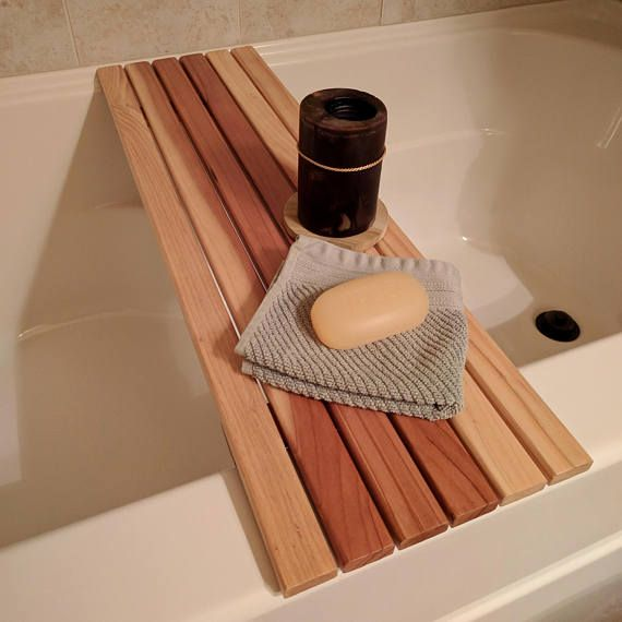 Bath Caddy Across-Tub Wood Tray Shelf for Wine, Soap, Book, Candle ...