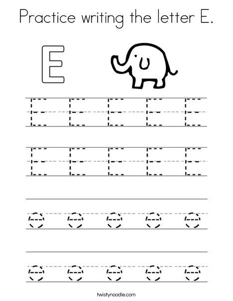 Practice Writing The Letter E Coloring Page Twisty Noodle