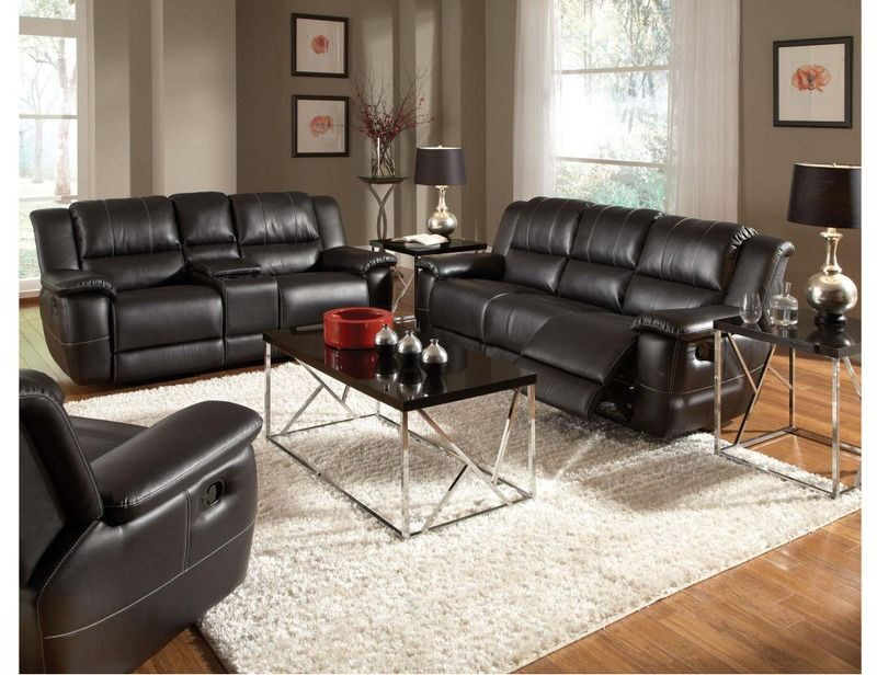 Black Leather Reclining Sofa Couch
