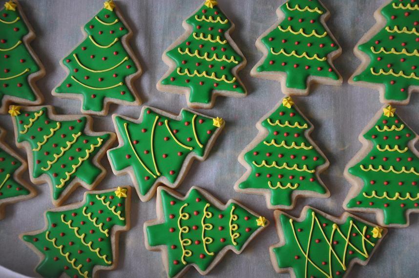 Turkeys And Treeeeeees Christmas Cookies Decorated Christmas Tree Cookies Tree Cookies