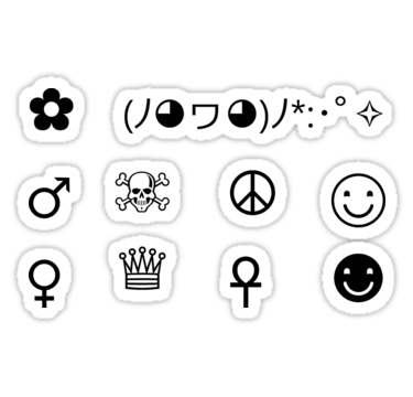 Sticker sheet 1 black and white symbols tumblr aesthetic stickers by cgnewman00