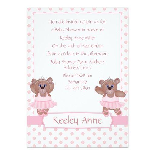 Ballerina Teddy Bear in Pink Baby Shower Invites